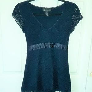 INC International Concepts Lace Blouse W/ Ribbon